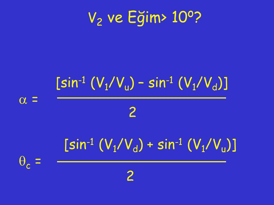 V2 ve Eğim> 10o [sin-1 (V1/Vu) – sin-1 (V1/Vd)]  = 2 [sin-1 (V1/Vd) + sin-1 (V1/Vu)] c = 2